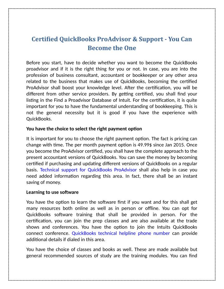 Certified QuickBooks ProAdvisor & Support - You Can