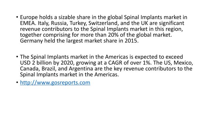 Europe holds a sizable share in the global Spinal Implants market in EMEA. Italy, Russia, Turkey, Sw...