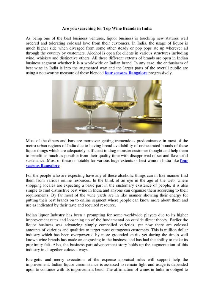 Are you searching for Top Wine Brands in India