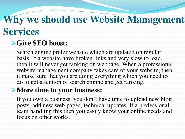 Why we should use website management services