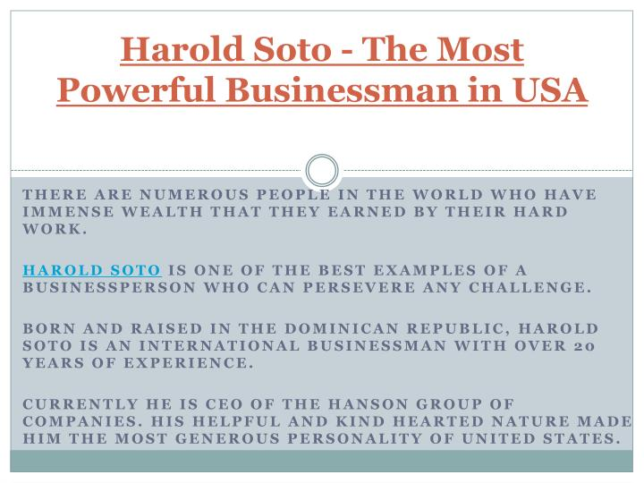Harold soto the most powerful businessman in usa