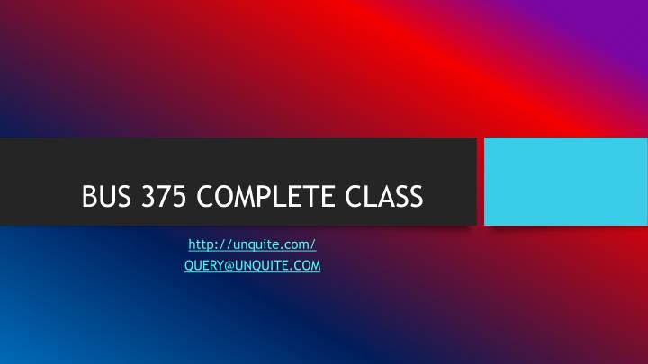 Bus 375 complete class