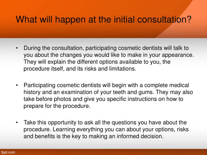 What will happen at the initial consultation?