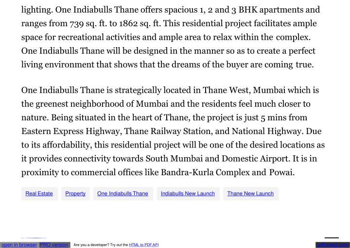 Lighting. One Indiabulls Thane offers spacious