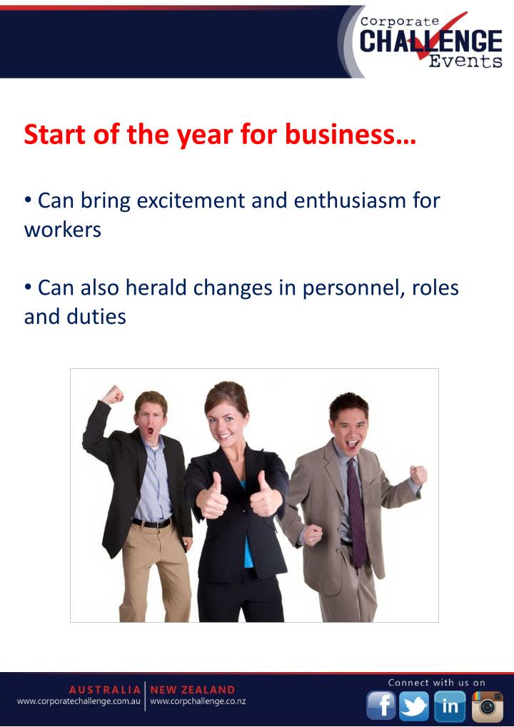 Start of the year for business…