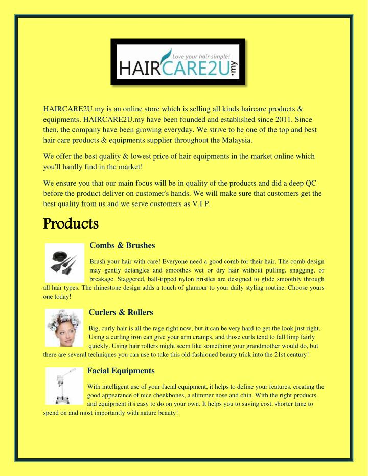 HAIRCARE2U.my is an online store which is selling all kinds haircare products &