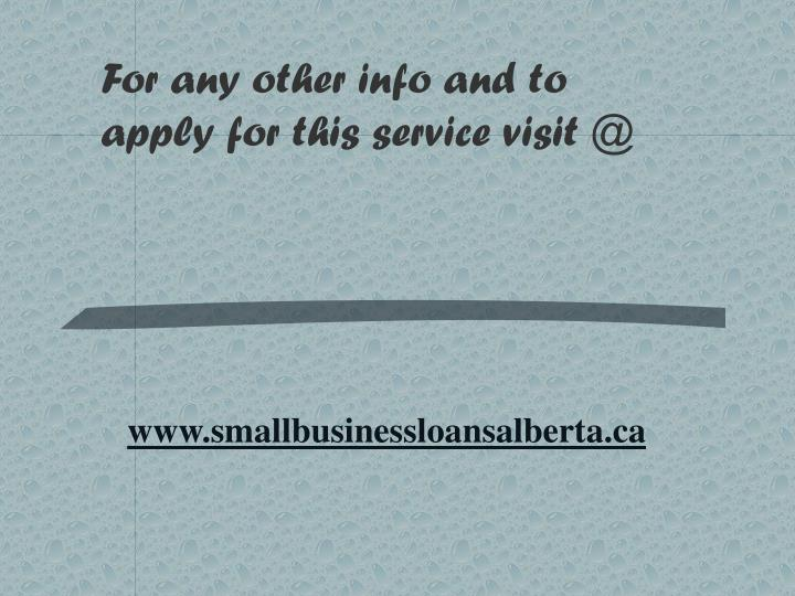 For any other info and to apply for this service visit @