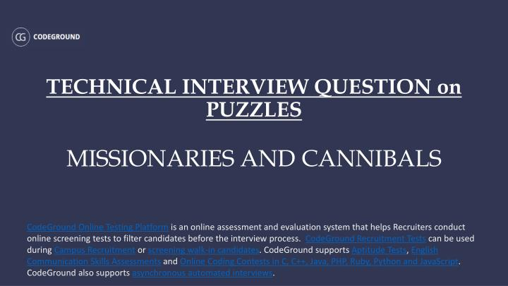 technical interview question on puzzles missionaries and cannibals n.