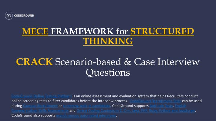 Mece framework for structured thinking crack scenario based case interview questions