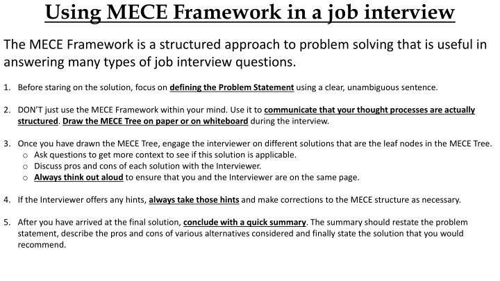 Using MECE Framework in a job interview
