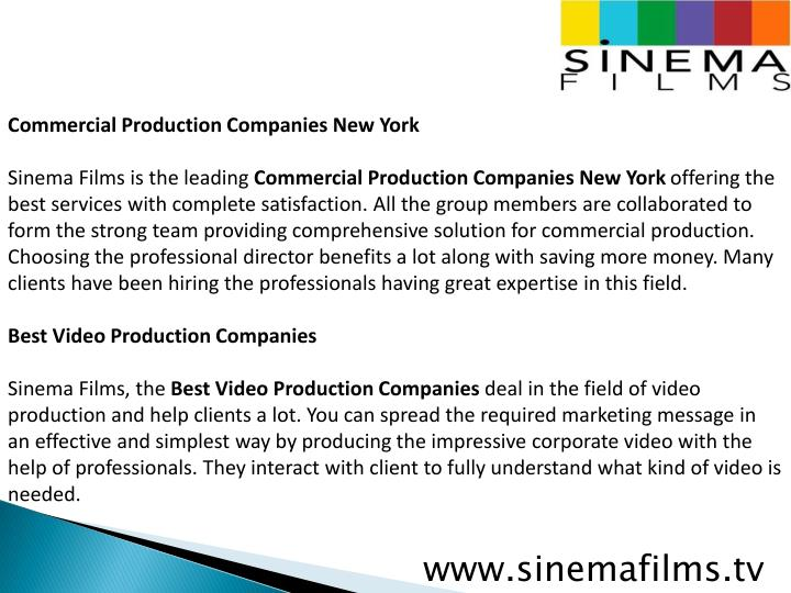 Commercial Production Companies New York