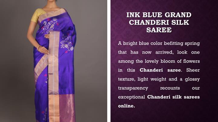 Ink Blue Grand Chanderi Silk Saree