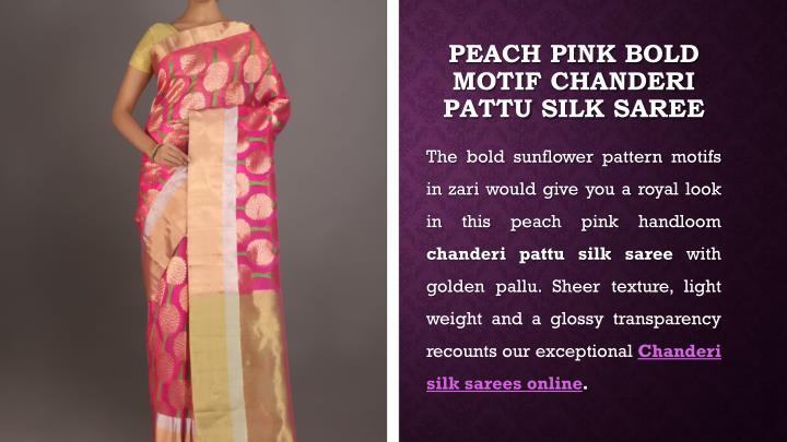 Peach Pink Bold Motif Chanderi
