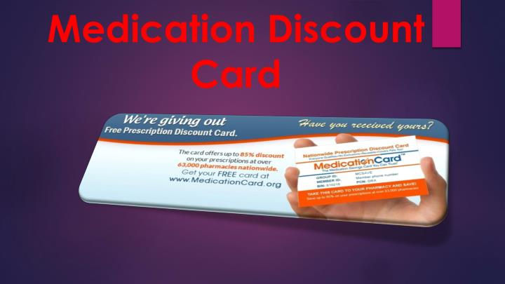 medication discount card n.