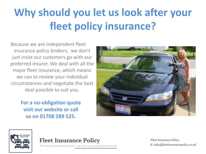 Why should you let us look after your fleet policy insurance
