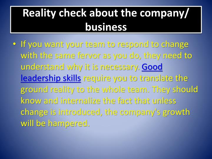 Reality check about the company business