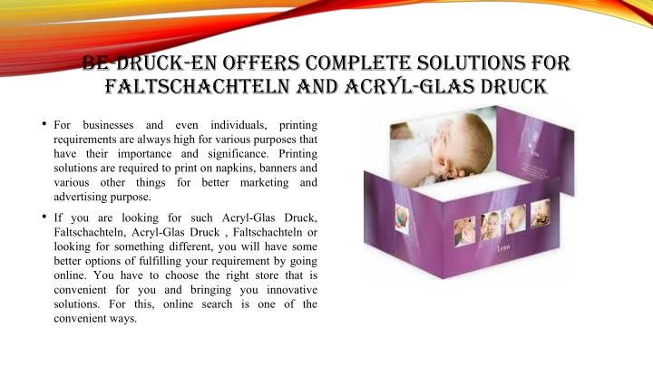 BE-DRUCK-EN OFFERS COMPLETE SOLUTIONS FOR