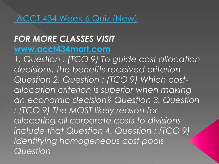 ACCT 434 Week 6 Quiz (New)