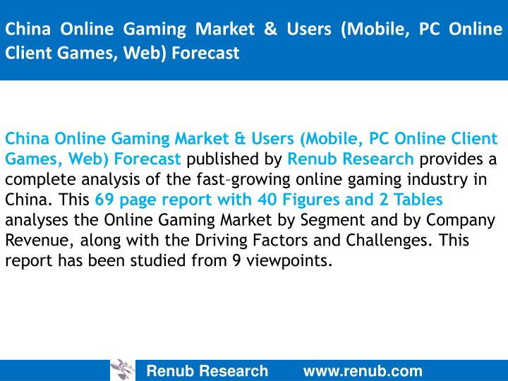 China online gaming market users mobile pc online client games web forecast