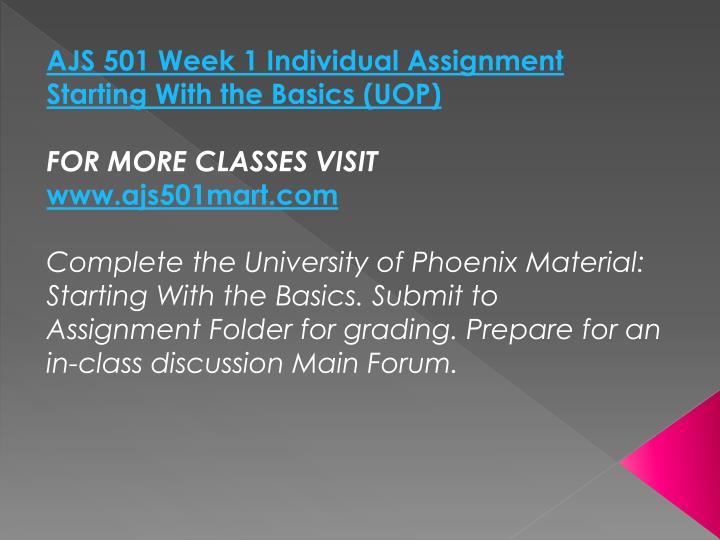 AJS 501 Week 1 Individual Assignment Starting With the Basics (UOP)