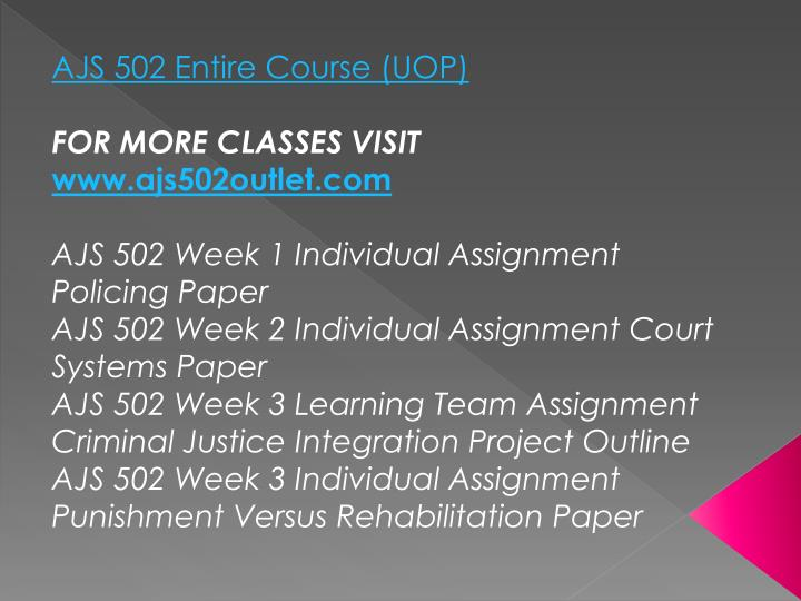 AJS 502 Entire Course (UOP)