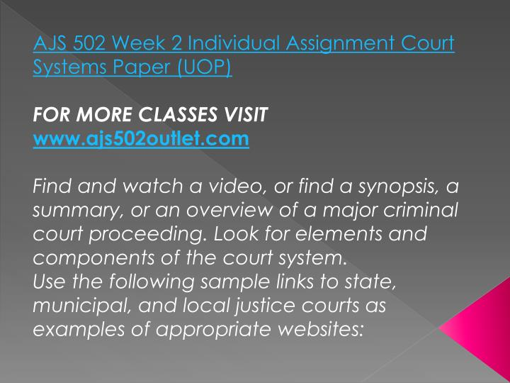 AJS 502 Week 2 Individual Assignment Court Systems Paper (UOP)