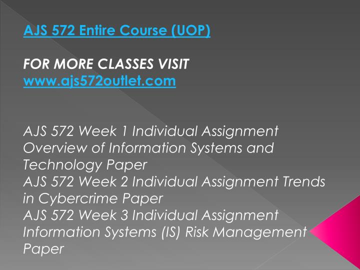 AJS 572 Entire Course (UOP)