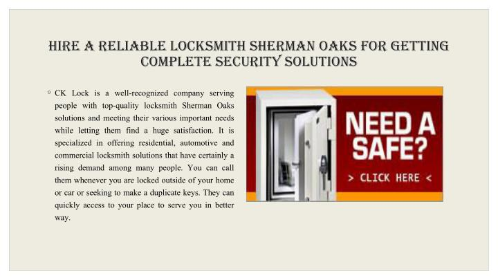 Hire a Reliable Locksmith Sherman Oaks For Getting