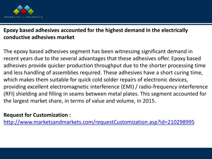 Epoxy based adhesives accounted for the highest demand in the electrically conductive adhesives
