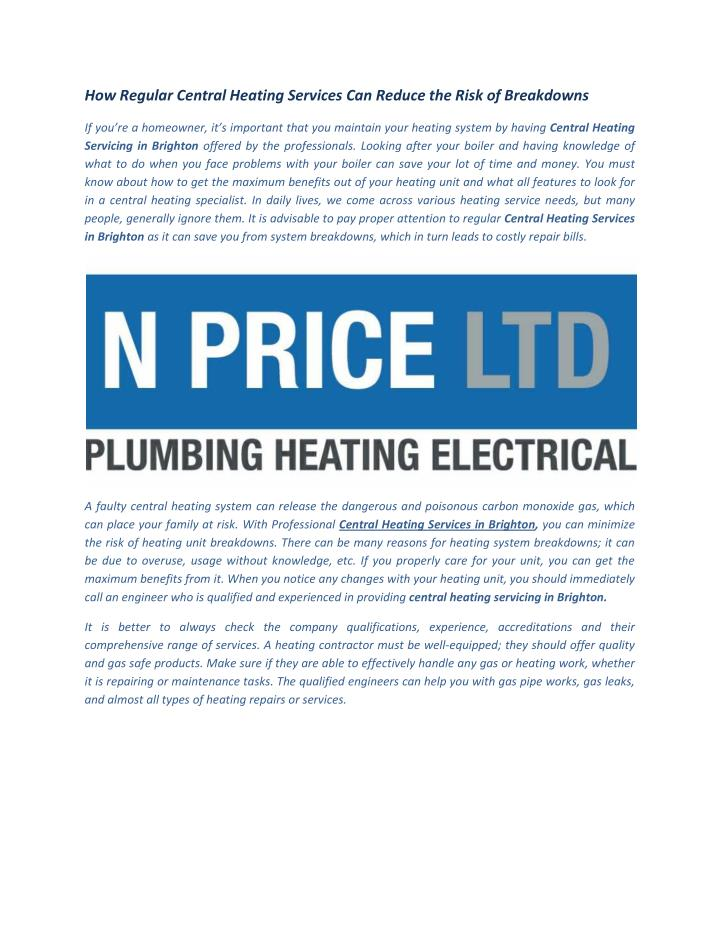 How Regular Central Heating Services Can Reduce the Risk of Breakdowns