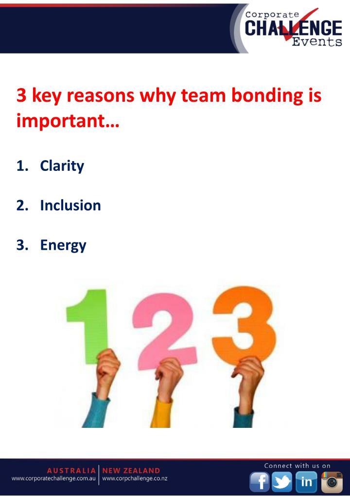 3 key reasons why team bonding is important…
