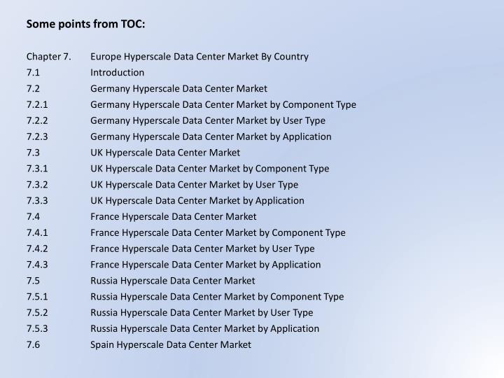 Some points from TOC: