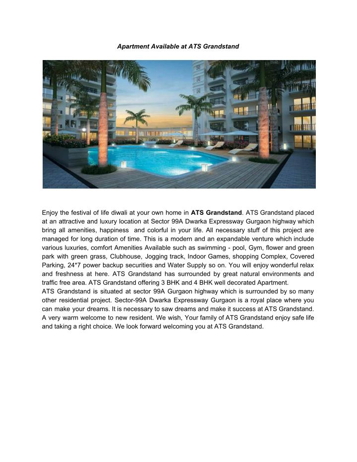 Apartment Available at ATS Grandstand
