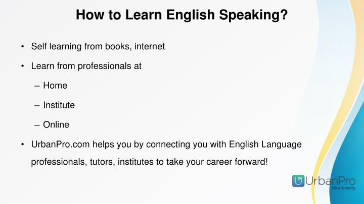 How to Learn English Speaking?