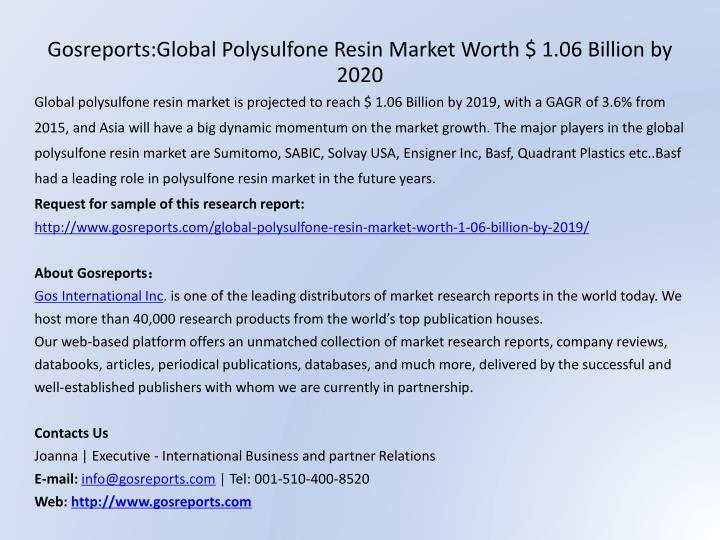Gosreports:Global Polysulfone Resin Market Worth $ 1.06 Billion by 2020