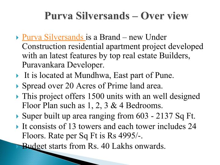 Purva Silversands – Over view