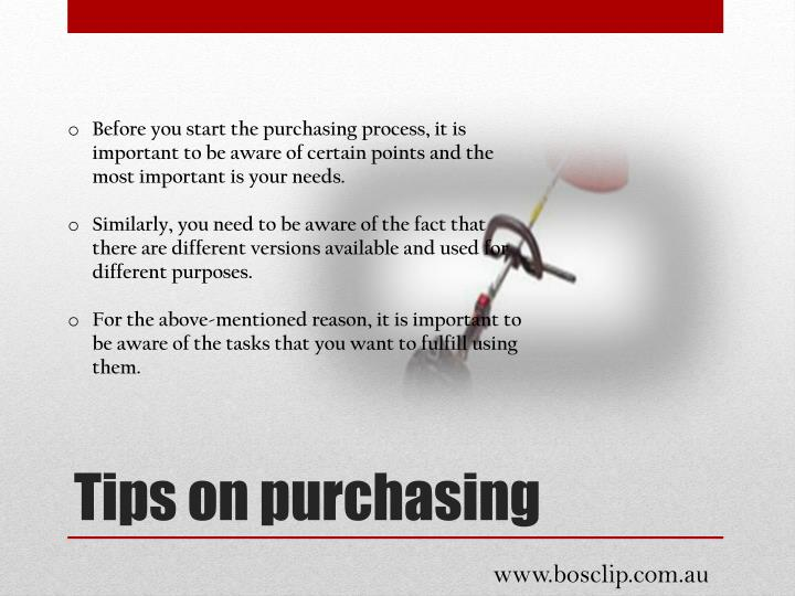 Before you start the purchasing process, it is important to be aware of certain points and the most important is your needs.