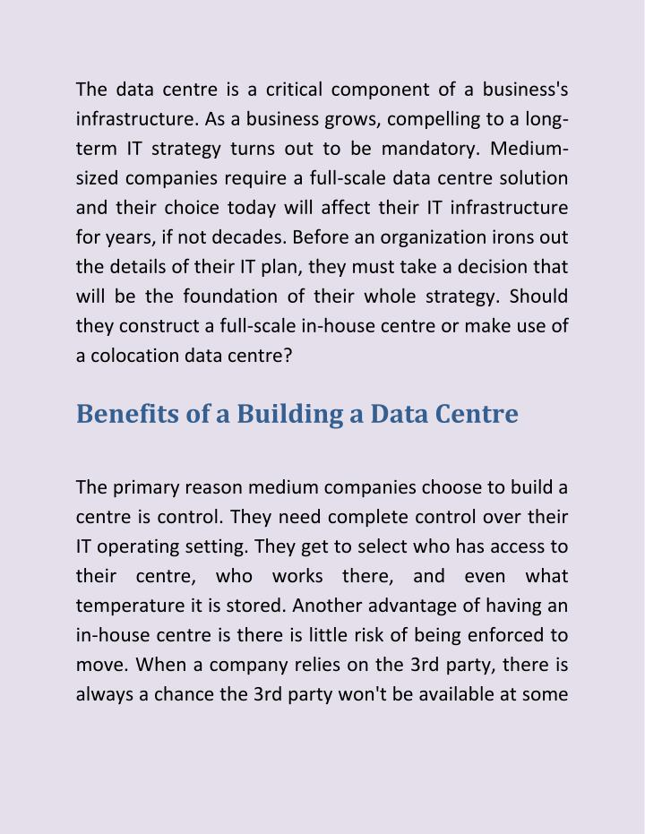 The data centre is a critical component of a business's