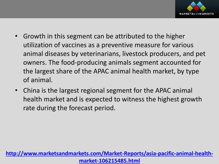 Growth in this segment can be attributed to the higher utilization of vaccines as a preventive measure for various animal diseases by veterinarians, livestock producers, and pet owners. The food-producing animals segment accounted for the largest share of the APAC animal health market, by type of animal