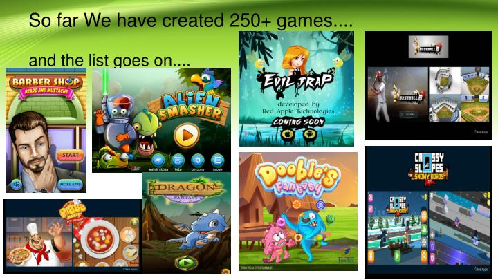 So far We have created 250+ games....
