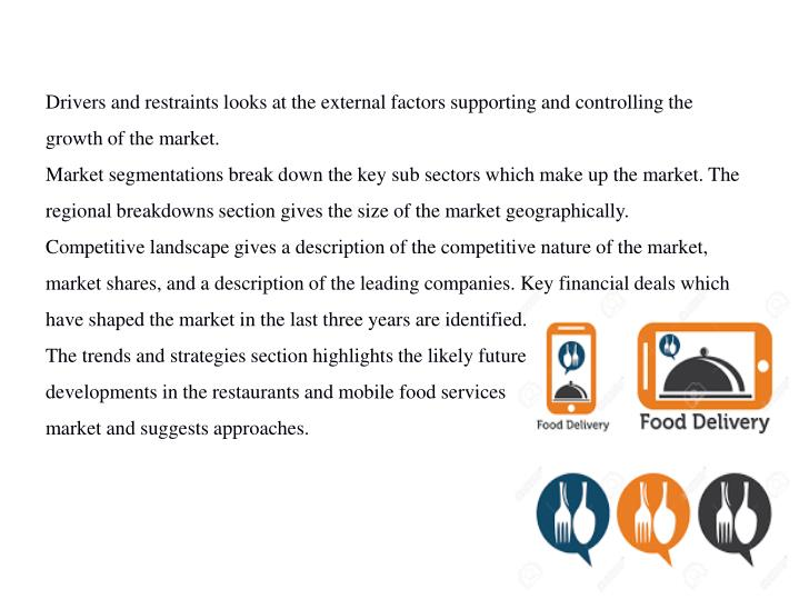 Drivers and restraints looks at the external factors supporting and controlling the growth of the market.