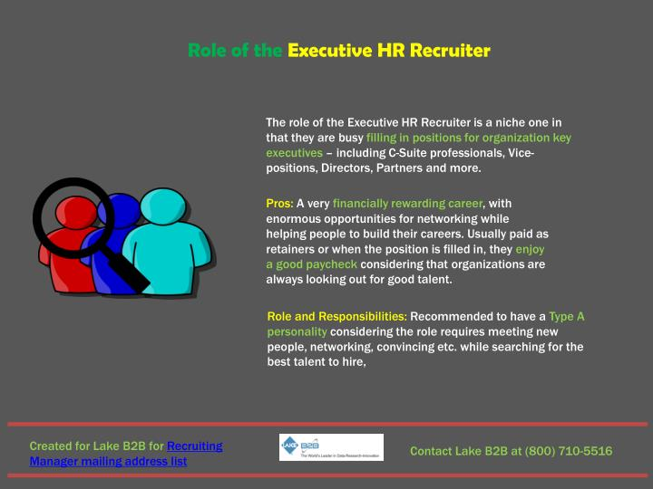 Role of the Executive HR Recruiter