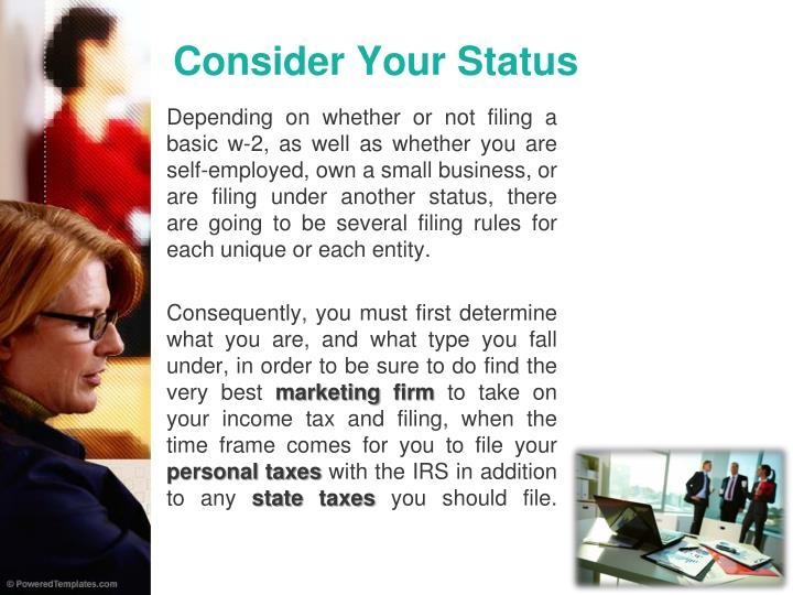 Consider your status