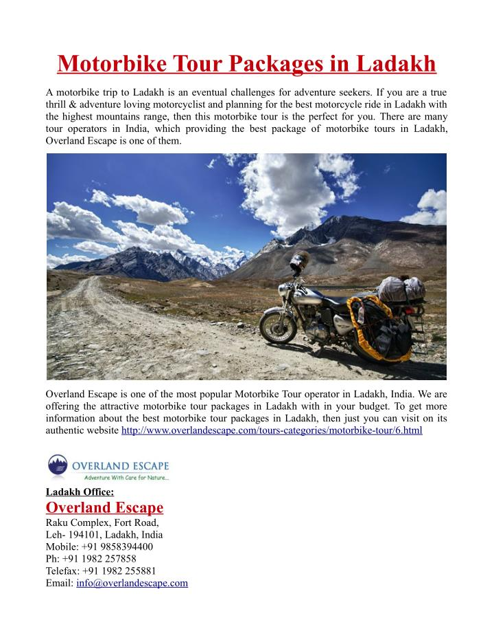Motorbike Tour Packages in Ladakh