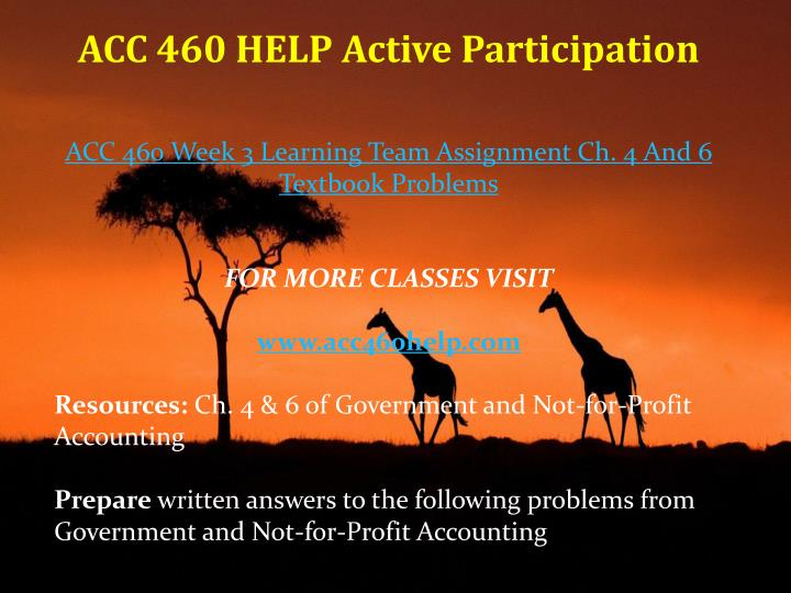 ACC 460 HELP Active Participation