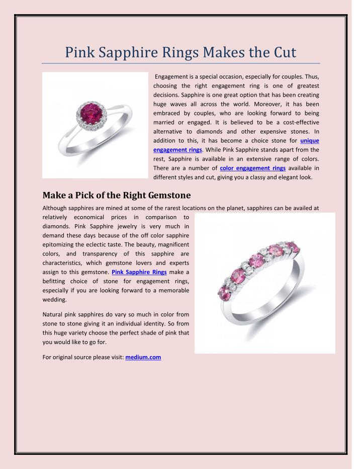 Pink Sapphire Rings Makes the Cut