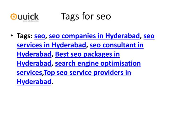 Tags for seo