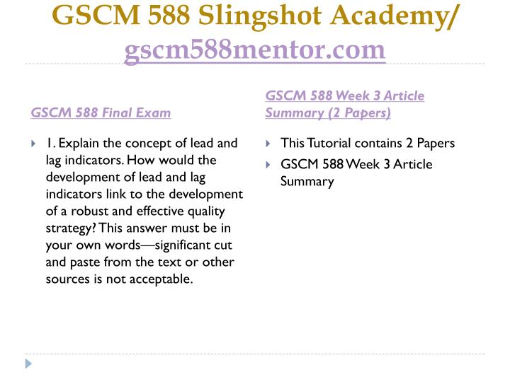 Gscm 588 slingshot academy gscm588mentor com1