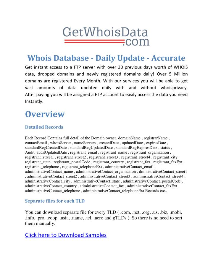 Whois Database - Daily Update - Accurate