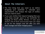 about the interiors